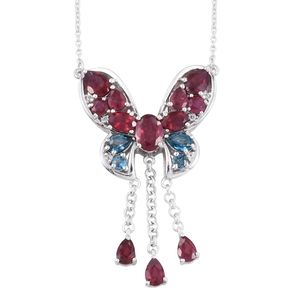 Niassa Ruby, London Blue Topaz, White Topaz Platinum Over Sterling Silver Dangling Butterfly Princess Necklace (18 in) TGW 9.24 cts.