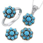 Arizona Sleeping Beauty Turquoise 14K YG and Platinum Over Sterling Silver Earrings, Ring (Size 6) and Pendant With Chain (20 in) TGW 5.890 cts.