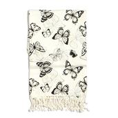 Buyer's Pick White and Black Butterfly Print 100% Cotton Brushed Throw with Fringes