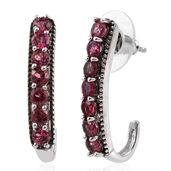 Pink Tourmaline Platinum Over Sterling Silver J-Hoop Earrings TGW 2.40 cts.