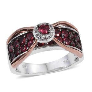 Mahenge Rose Spinel, White Topaz 14K RG and Platinum Over Sterling Silver Bridge Ring (Size 5.0) TGW 2.20 cts.