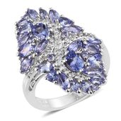 Tanzanite, White Topaz Platinum Over Sterling Silver Elongated Ring (Size 7.0) TGW 4.54 cts.