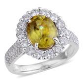 14K WG Madagascar Sphene, Diamond Ring (Size 7.0) TDiaWt 1.18 cts, TGW 3.86 cts.