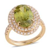 14K YG Madagascar Sphene, Diamond Ring (Size 7.0) TDiaWt 0.98 cts, TGW 6.200 cts.