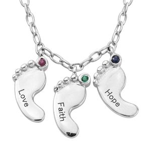 Multi Gemstone Platinum Over Sterling Silver Love, Faith, and Hope Footprints Necklace With Stainless Steel Chain (20 in) TGW 0.06 cts.