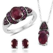 Niassa Ruby, Orissa Rhodolite Garnet Platinum Over Sterling Silver Earrings, Ring (Size 9) and Pendant With Chain (20 in) TGW 6.545 Cts.