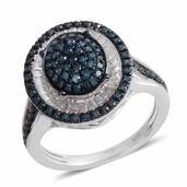 Blue Diamond Sterling Silver Ring (Size 6.5)   , TDiaWt 0.52 cts, TGW 0.520 cts.