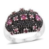 Morro Redondo Pink Tourmaline, Thai Black Spinel Black Rhodium & Platinum Over Sterling Silver Cluster Ring (Size 7.0) TGW 2.41 cts.