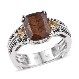 Chocolate Sapphire, Brazilian Citrine, Thai Black Spinel Platinum Over Sterling Silver Ring (Size 7.0) TGW 6.440 cts.