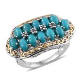 Sonoran Blue Turquoise, Tanzanite 14K YG and Platinum Over Sterling Silver Ring (Size 9.0) TGW 5.890 cts.