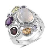 Sri Lankan Rainbow Moonstone, Multi Gemstone Platinum Over Sterling Silver Openwork Ring (Size 7.0) TGW 10.800 cts.