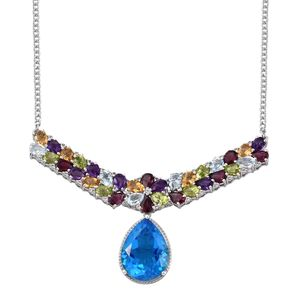 Caribbean Quartz, Multi Gemstone Platinum Over Sterling Silver Drop Bar Necklace (18 in) TGW 32.22 cts.