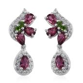 Pink Tourmaline, Russian Diopside, White Zircon Platinum Over Sterling Silver Earrings TGW 2.120 Cts.