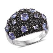Tanzanite, Thai Black Spinel Platinum Over Sterling Silver Midnight Cluster Ring (Size 7.0) TGW 4.19 cts.