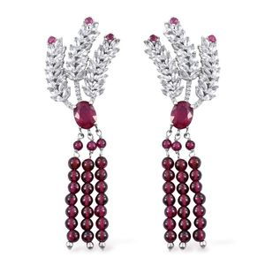 Niassa Ruby, Orissa Rhodolite Garnet, White Topaz Platinum Over Sterling Silver Statement Dangle Earrings TGW 21.61 cts.
