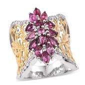 Pink Tourmaline, White Zircon 14K YG and Platinum Over Sterling Silver Openwork Knuckle Ring (Size 6.0) TGW 2.550 cts.