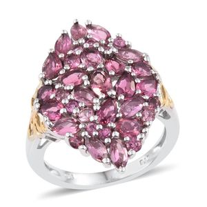 Pink Tourmaline 14K YG and Platinum Over Sterling Silver Ring (Size 7.0) TGW 3.960 cts.