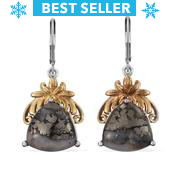 KARIS Collection - Mexican Ice Pyrite ION Plated 18K YG and Platinum Bond Brass Lever Back Earrings TGW 17.780 Cts.