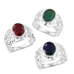 Set of 3 Artisan Crafted Blue Sapphire, Ruby and Emerald (Color Enhanced) Sterling Silver Openwork Solitaire Rings (Size 5) TGW 9.24 cts.