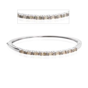 Turkizite, White Zircon Platinum Over Sterling Silver Bangle (7.50 in) TGW 3.50 cts.