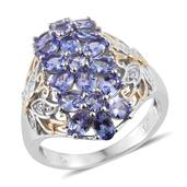Tanzanite, White Zircon 14K YG and Platinum Over Sterling Silver Ring (Size 10.0) TGW 3.39 cts.