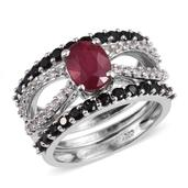 Set of 3 Niassa Ruby, Thai Black Spinel, White Topaz Platinum Over Sterling Silver Stack Rings (Size 7.0) TGW 4.900 cts.
