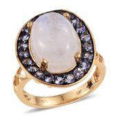 GP Sri Lankan Rainbow Moonstone, Tanzanite 14K YG Over Sterling Silver Pierced Band Ring (Size 8.0) TGW 9.91 cts.