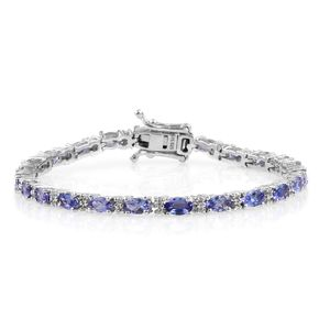 Tanzanite, White Topaz Platinum Over Sterling Silver Bracelet (6.50 In) TGW 6.160 cts.