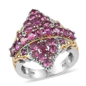 Morro Redondo Pink Tourmaline 14K YG and Platinum Over Sterling Silver Openwork Ring (Size 5.0) TGW 3.62 cts.