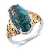 Mojave Blue Turquoise 14K YG and Platinum Over Sterling Silver Openwork Solitaire Ring (Size 6.0) TGW 9.65 cts.