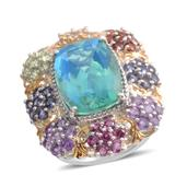 Peacock Quartz, Multi Gemstone 14K YG and Platinum Over Sterling Silver Statement Ring (Size 7.0) TGW 12.23 cts.