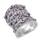 Tanzanite, Orissa Rhodolite Garnet, White Zircon 14K YG and Platinum Over Sterling Silver Openwork Elongated Ring (Size 8.0) TGW 6.27 cts.