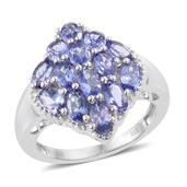 Premium AAA Tanzanite Platinum Over Sterling Silver Ring (Size 5.0) TGW 3.65 cts.
