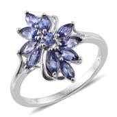 Premium AAA Tanzanite Platinum Over Sterling Silver Split Ring (Size 8.0) TGW 1.430 cts.
