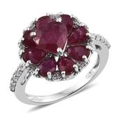 Niassa Ruby, White Zircon Platinum Over Sterling Silver Inner Heart Ring (Size 8.0) TGW 6.190 cts.