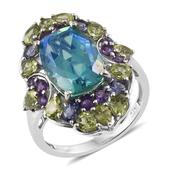 Peacock Quartz, Multi Gemstone Platinum Over Sterling Silver Elongated Ring (Size 9.0) TGW 9.800 cts.