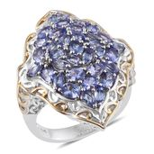Tanzanite 14K YG and Platinum Over Sterling Silver Openwork Elongated Cluster Ring (Size 10.0) TGW 5.200 cts.