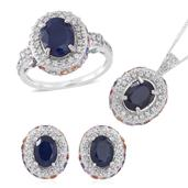 Kanchanaburi Blue Sapphire, Multi Sapphire, White Zircon Sterling Silver Earrings, Ring (Size 5) and Pendant With Chain (18 in) TGW 10.010 cts.