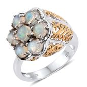 Ethiopian Welo Opal 14K YG and Platinum Over Sterling Silver Openwork Flower Ring (Size 6.0) TGW 2.18 cts.