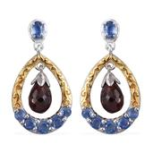 Mozambique Garnet, Himalayan Kyanite 14K YG and Platinum Over Sterling Silver Earrings TGW 3.31 cts.