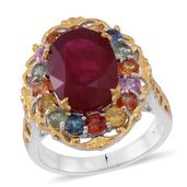Niassa Ruby, Multi Sapphire 14K YG Over and Sterling Silver Ring (Size 6.0) TGW 10.420 cts.
