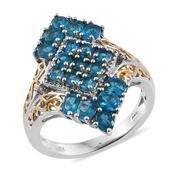 Malgache Neon Apatite, White Zircon 14K YG and Platinum Over Sterling Silver Ring (Size 9.0) TGW 2.420 cts.