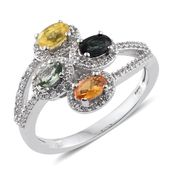 Multi Sapphire, White Zircon Platinum Over Sterling Silver Split Bypass Ring (Size 8.0) TGW 1.87 cts.