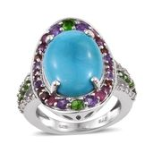 Arizona Sleeping Beauty Turquoise, Multi Gemstone Platinum Over Sterling Silver Statement Ring (Size 8.0) 0 TGW 8.34 cts.