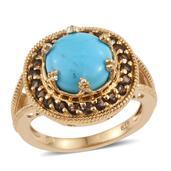 Arizona Sleeping Beauty Turquoise, Brazilian Smoky Quartz 14K YG Over Sterling Silver Split Ring (Size 7.0) TGW 4.500 cts.