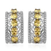 Simulated Yellow Diamond Stainless Steel Openwork Earrings TGW 5.620 Cts.