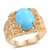 Arizona Sleeping Beauty Turquoise 14K YG Over Sterling Silver Openwork Ring (Size 9.0) TGW 4.25 cts.