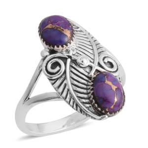 Santa Fe Style Mojave Purple Turquoise Sterling Silver Ring (Size 6.0) TGW 6.00 cts.