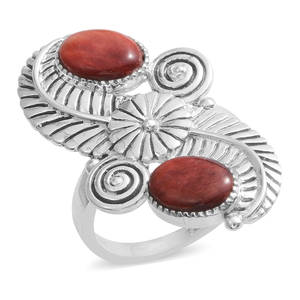 Santa Fe Style Spiny Oyster Shell Red Sterling Silver Ring (Size 10.0)