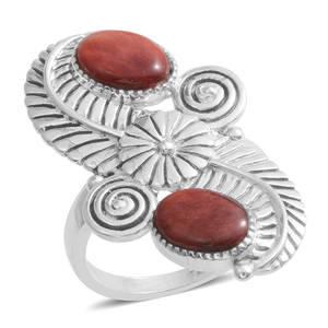 Santa Fe Style Spiny Oyster Shell Red Sterling Silver Elongated Split Ring (Size 8.0)